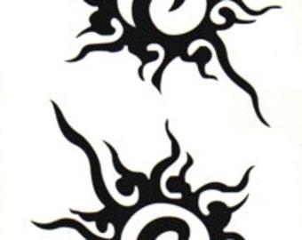 Tribal Suns Temporary Fake Tattoo Bold Body Art Transfer Waterpoof Fancy Dress