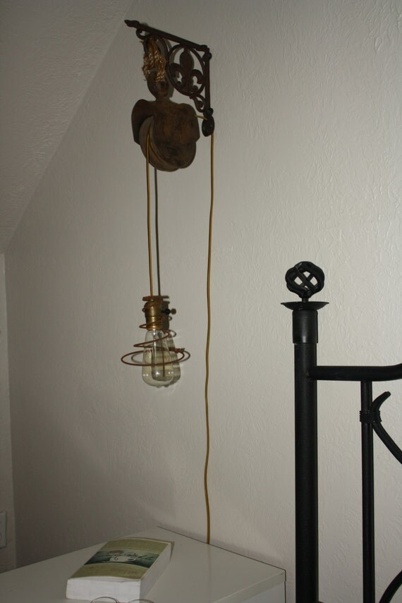 to vintage pulley sconce wall mount pendant light fixture on etsy. Black Bedroom Furniture Sets. Home Design Ideas