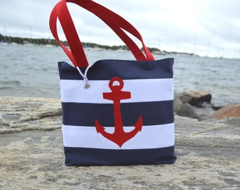 Anchor Canvas Bag, Nautical Canvas Handbag with Red Anchor, Blue and White Stripes, Lining, Charm, Canvas Tote