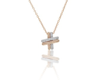 Two tone Micropave Diamond Pendant in 18k Gold (1.00ct. tw.)