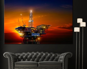 Home Decor Wall Art Oil Rig Wall Art Canvas Giclee Print - Highest Quality Canvas Den Prints - Not stretched or framed