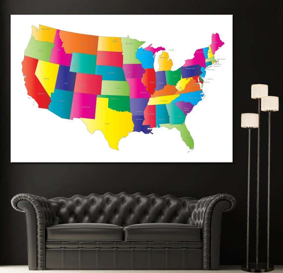 Usa Colorful Map United States Home Decor Wall Art Canvas