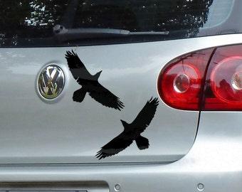 8in Odins Ravens Pair of Stickers Gloss Vinyl Car Sticker Decal | Huginn & Muninn
