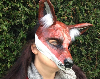 Red Fox mask/ Paper Mache mask/ Papier mache mask/ Animal mask/ masquerade/ costume