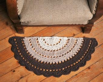 Captivating Crochet Half Circle Rug, Small Boho Rug, Crochet Half Moon Rug, Door Rug