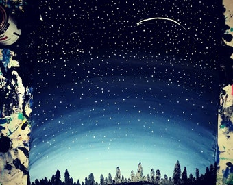 "Night Sky painting on a 24""x36"" stretched canvas"