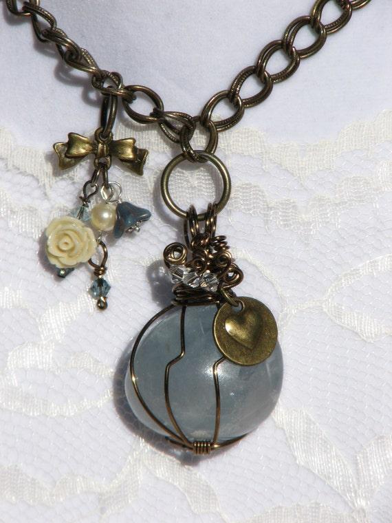 celestite pendant necklace by thecopperandcrystal on etsy