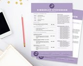 Crisp Purple Resume, Cover Letter & References Template Package, Creative Resume Template - Instant Digital Download