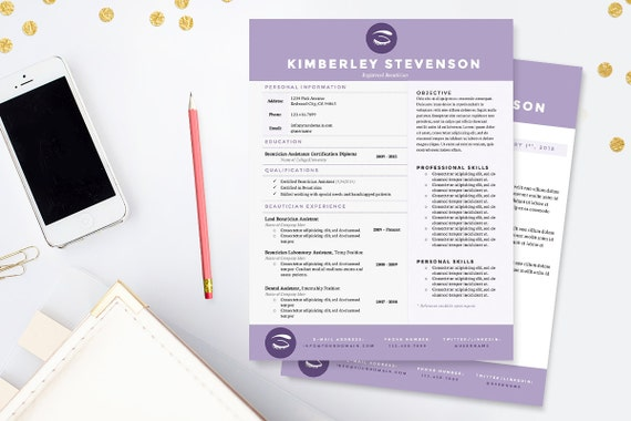crisp purple resume cover letter  u0026 references template