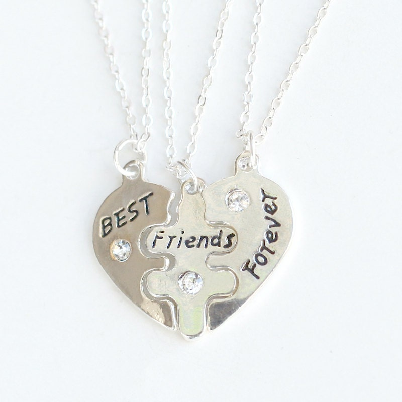 silver best friends necklace best friends forever by