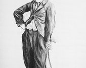 Charlie Chaplin wall art, original charcoal drawing , charcoal art, home decor, wall decor, instant download