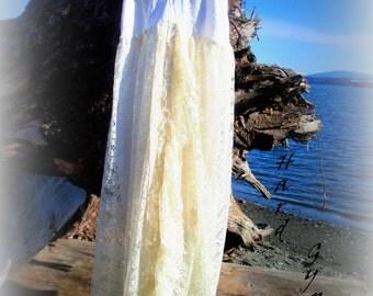 Bridal soft creams Size M or L lace. traveler, roamer, wanderer, Bohemian, rover rambler, nomad, Romany, vagabond,Dress, fairy dress, gypsy,
