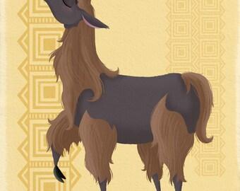 Gold Llama Print