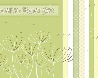 Dandelion Digital Paper,Yellow-Green-White,Flower Paper,Scrapbooking,Cards,Invitations,Background Paper,Instant Download-BUY 1 GET 1 FREE