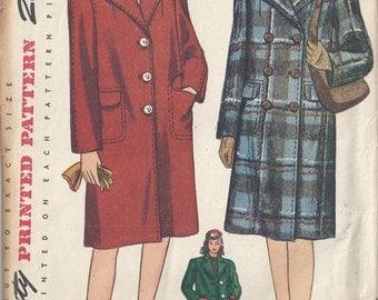 Vintage Simplicity Pattern # 4563 1940's Misses Box Coat