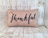 Free Shipping, Burlap Thankful Fall pillow with insert