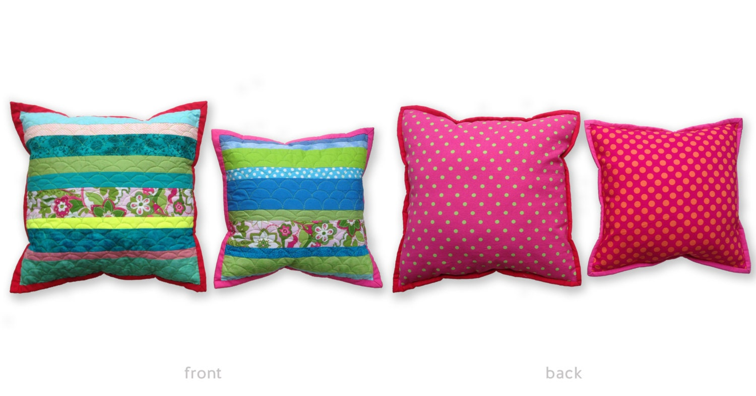Modern Quilted Pillows Pattern : Modern Scrappy Quilted Pillow Set with Vibrant Stripes