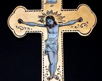 1800s Rare Antique Enameled Gold Russian Cross Pendant