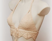 Festival halter crop top. Beige crop top. Crochet bikini top. Sexy crochet top. Summer top. Sexy top. Hippie crochet top. Gypsy crop top.