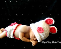 Photo Prop  Bunny Outfit Baby Easter Hat Bunny Hat Diaper Cover Baby Girl Easter Outfit Newborn Bunny Outfit Crochet Bunny Girls Easter Hat