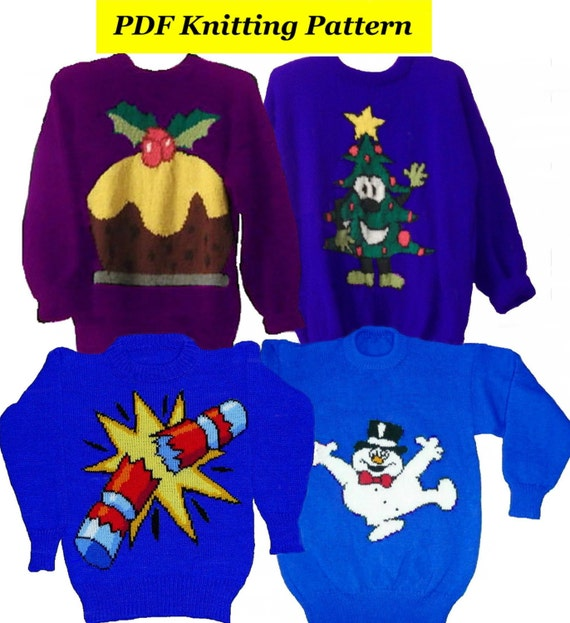 Knitting Patterns For Children s Christmas Jumpers : 4xChildrens & Adults Christmas Jumper Knitting Patterns 8