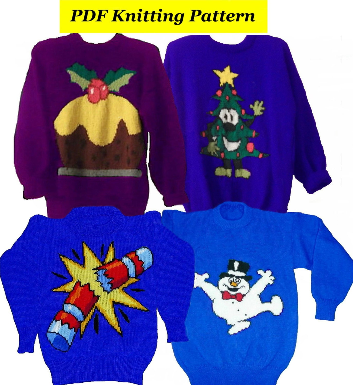 4xChildrens & Adults Christmas Jumper Knitting Patterns 8