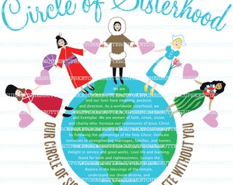 Circle of Sisterhood. Women around the world. LDS Relief Society. LDS Young Women.