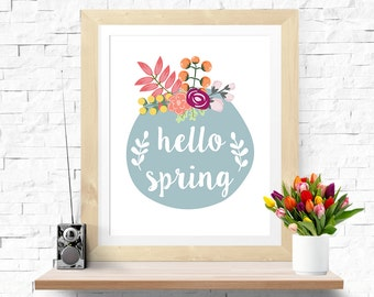 Typographic Art Inspirational Quote Bohemian Poster 'Hello Spring' Downloadable Printable Floral Decor Wall Art Digital Flower Poster Spring