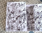 Doodle, Black and white, Zentangle, zentangle Cards, Note card, post card, hand made, folded, unique, designers, collectable, original