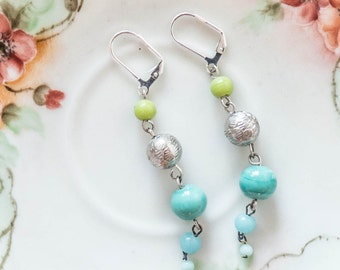 Clearance Sale Blue Bead Dangle Earrings  Bohemian Boho Gypsy Style Colorful