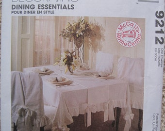 UNCUT Dining Essentials - Tablecloth, Table Runner, Chair Cover, Placemat, and Napkin - McCall's Home Dec Sewing Pattern 9212