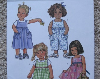 UNCUT Toddlers Dress, Jumper and Jumpsuit - All Sizes Included - Butterick Pattern B4172