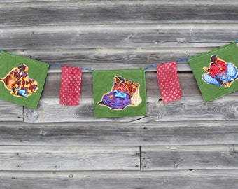 Prayer Flags, Southwestern Decor, Garden Flags, Native American, Fabric Bunting, Gypsy Flags, Boho Flags, Wall Flags, Hippie, Festival Flag