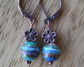 Round Calsilica & Copper Flower Earrings