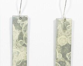 Wearable Art, Hand Painted Earrings, Silver, Silver Fasteners