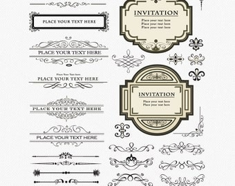 DESIGN ELEMENTS Clipart, PNGs and Vector file, Frames, Labels, Ornament, Dividers, Fluorish, Decorative, Card Diy / Instant download E4