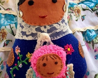 Matrioshka Mother and Baby Fabric Dolls, Mother and baby russian dolls, Mother and baby Babushka dolls, mother and baby custom made dolls