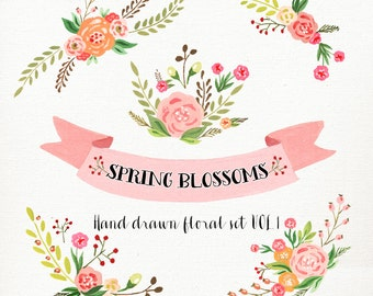 Watercolor Flower Clipart Wedding Floral Clip Art Bouquet Flowers