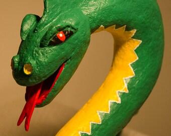 Snake-dragon handmade papier mache
