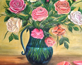 FLOWERS in a blue-green vase     fabulous colorful very large piece of art. beautiful oil painting .NOW********Free Shipping******