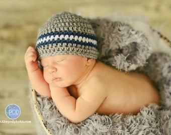 Crochet Baby Hat, Ready to Ship, Baby Boy Hat, Baby Newborn Hat, Newborn Beanie, Grey Navy White, Newborn Prop, Baby Hat, Baby Boy Beanie
