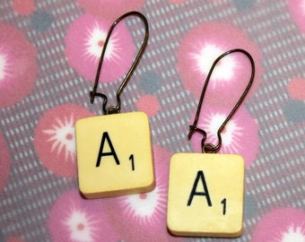 Scrabble / AA earrings, handmade