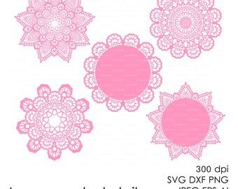 Lace crochet doily 300 dpi (svg, dxf, jpg, ai, eps, png) vector Clip Art Cutting file, Digital Die Cut Silhouette Cameo Laser EasyCutPrintPD