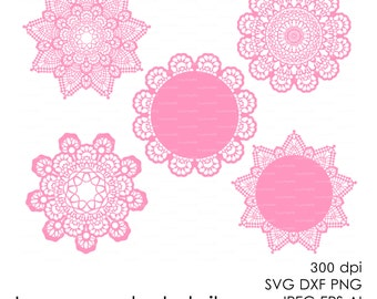 Lace crochet doily 300 dpi (svg, dxf, jpg, ai, eps, png) vector Clip Art Cutting file, Digital Die Cut Silhouette Cameo Laser EasyCutPrintPD