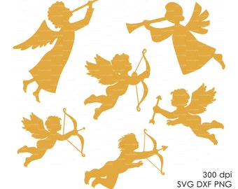 Angel (svg, dxf, ai, eps, png) Vector ClipArt heaven cherub cupid wings fairy fantasy Cut file, Diecutting Silhouette Cameo EasyCutPrintPD