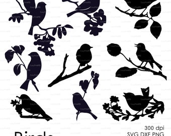 Three birds on the branch (eps, svg, dxf, ai, jpg, png) Vector ClipArt Wall Decor Decal Vinyl Cutting File Silhouette Cameo EasyCutPrintPD