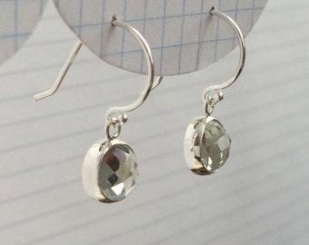 Rose Cut Green Quartz Sterling Silver Earrings