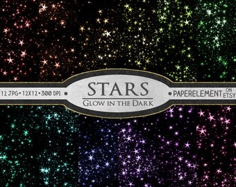 Stars Digital Paper: Star Scrapbook Paper, Glowing Stars Graphics, Printable Star Backgrounds, Digital Star Backdrop, Star Download