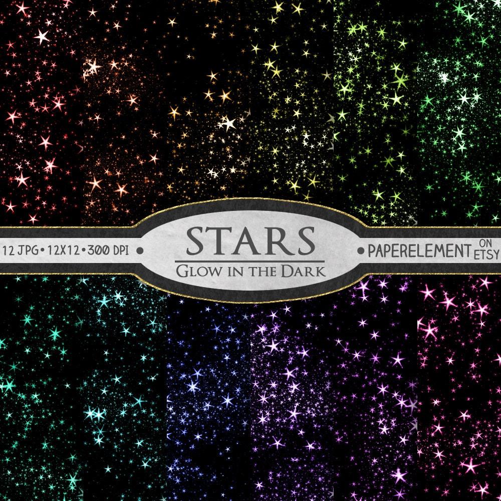 Scrapbook paper etsy - Stars Digital Paper Star Scrapbook Paper Glowing Stars Graphics Printable Star Backgrounds Digital Star Backdrop Star Download