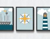 Nursery printable, Nautical set, nursery decor, lighthouse, boys room, boys nursery, blue nursery, nautical theme, modern nursery